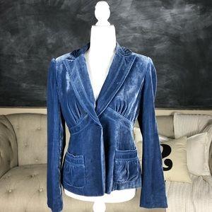 LAUNDRY | Vintage Style Velvet Blazer Blue Chic 8